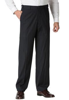 Plain Front Expandable Dress Pants by KS Signature®, NAVY PINSTRIPE