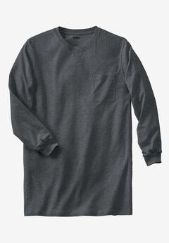 Shrink-Less™ Lightweight Longer-Length Long-Sleeve Crewneck Pocket Tee,