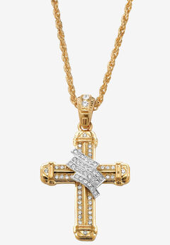 """Gold Tone Wrapped Cross Pendant 24"""" Chain, GOLD"""