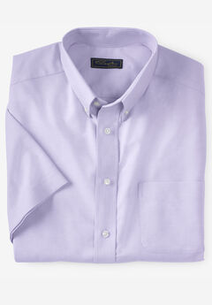 KS SIGNATURE WRINKLE-RESISTANT SHORT-SLEEVE OXFORD DRESS SHIRT, SOFT PURPLE