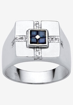 Sterling Silver Genuine Blue Sapphire and Diamond Accent Ring, WHITE