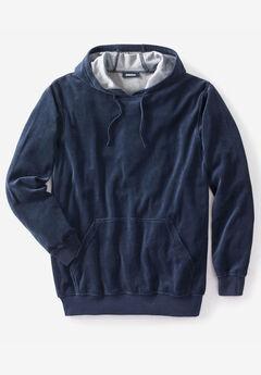 Velour Long-Sleeve Pullover Hoodie, NAVY