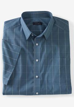 KS Signature Classic Fit Broadcloth Flex Short-Sleeve Dress Shirt, SLATE BLUE CHECK