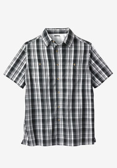 Easy-Care Short-Sleeve Plaid Sport Shirt,