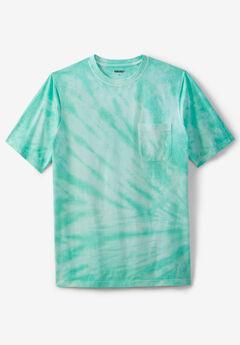 Shrink-Less™ Lightweight Pocket Crewneck T-Shirt, TIDAL GREEN MARBLE