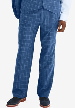 KS Island™ Linen Blend Double-Pleat Front Dress Pants, BLUE WINDOW PANE