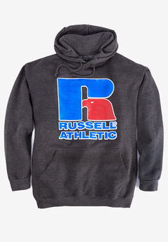 Large Logo Hoodie by Russell Athletic®, HEATHER CHARCOAL