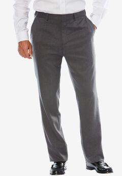 Easy-Care Classic Fit Expandable Waist Plain Front Dress Pants, STEEL