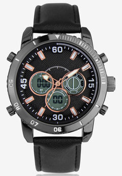 Faux Leather Chronograph Watch,