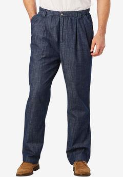 Full Elastic Waist Pleated Pants,