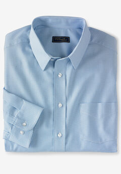 KS Signature Classic Fit Broadcloth Flex Long-Sleeve Dress Shirt, SKY BLUE HOUNDSTOOTH