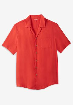 KS Island Solid Rayon Short-Sleeve Shirt,