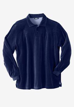 Long-Sleeve Velour Polo, NAVY