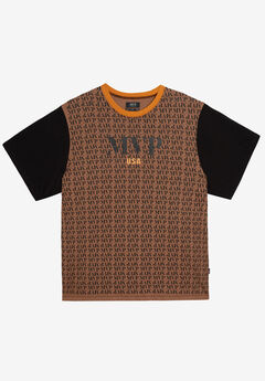MVP Collections® All-Over Print Logo Tee, CAMEL ONYX