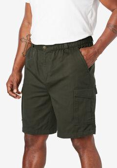 "Boulder Creek® 9"" Full Elastic Waist Single Pocket Cargo Shorts,"