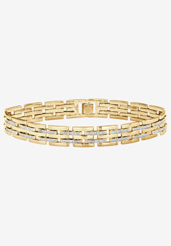 "9"" Yellow Gold-Plated Link Bracelet with Diamond Accents,"