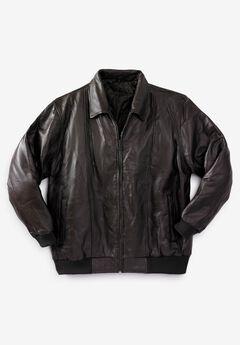 Embossed Leather Bomber Jacket,