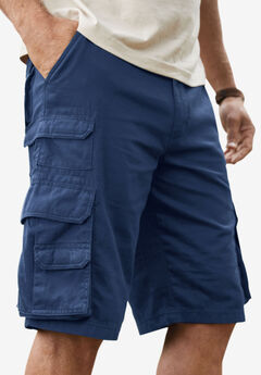 Boulder Creek® Side-Elastic Twill Cargo Shorts,