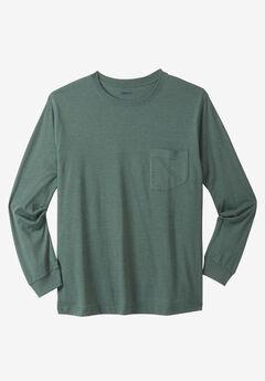 Lightweight Long-Sleeve Crewneck Pocket T-Shirt,