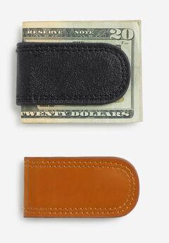 Leather Money Clip, BLACK