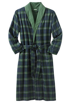Jersey-Lined Flannel Robe,