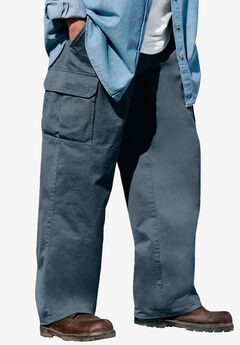 Boulder Creek® Side-Elastic Waist Single Pocket Cargo Pants,