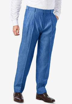 Easy-Care Signature Fit Expandable Waist Plain Front Dress Pants, DARK BLUE HERRINGBONE