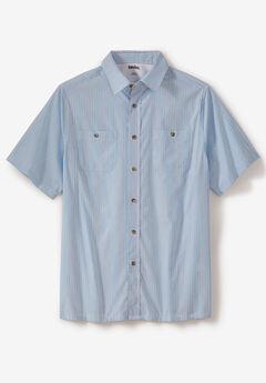 Striped Short-Sleeve Shirt, COOL BLUE STRIPE