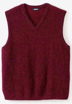 Shaker Knit V-Neck Sweater Vest, RICH BURGUNDY MARL