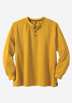 Easy-Care Ribbed Knit Henley Tee by Liberty Blues®, HEATHER GOLD
