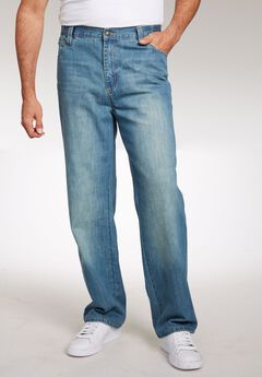 Relaxed Fit Side Elastic 5-Pocket Jeans by Liberty Blues®,