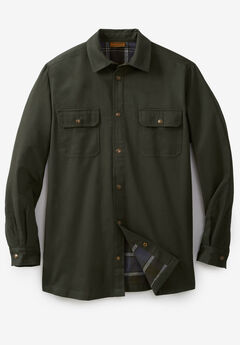 Flannel-Lined Twill Shirt Jacket by Boulder Creek®, FOREST GREEN