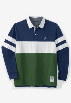 Nautica® Long-Sleeve Jersey Polo, NAVY GREEN