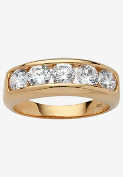 18K Yellow Gold over Sterling Silver Cubic Zirconia Wedding Band, GOLD