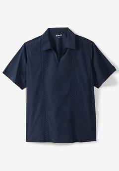 Short Sleeve Guayabera Popover Shirt,