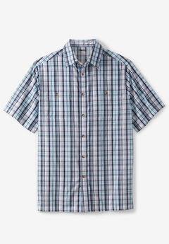 Short-Sleeve Plaid Sport Shirt, MIDNIGHT NAVY PLAID