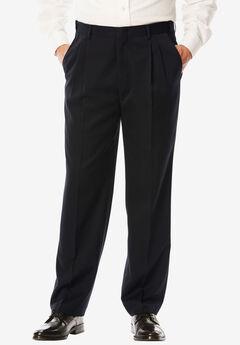 Signature Fit Wrinkle-Resistant Pleat Front Dress Pants, BLACK