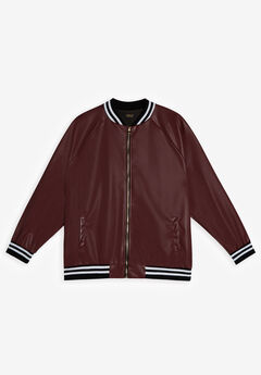 MVP Collections® Faux Leather Bomber Jacket, MERLOT