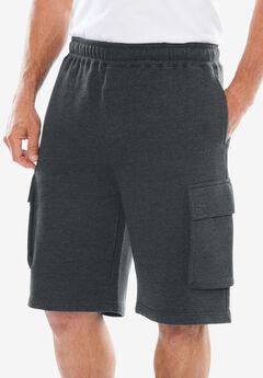 """Fleece 10"""" Cargo Shorts , HEATHER CHARCOAL"""