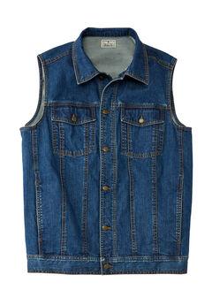 Button Front Cotton Denim Vest by Liberty Blues®,