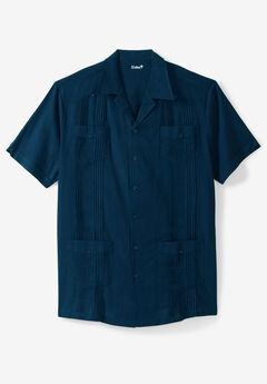 KS Island™ Short-Sleeve Linen Guayabera Shirt, NAVY