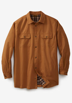 Flannel-Lined Twill Shirt Jacket by Boulder Creek®,