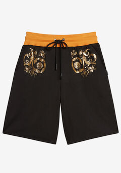 MVP Collections® Gold Floral Print Techno Knit Drawstring Short, ONYX
