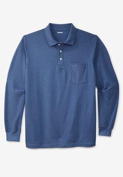 Long-sleeve Piqué Polo, HEATHER BLUE