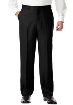 Easy-Care Plain Front Inner Stretch Dress Pants by KS Signature, BLACK