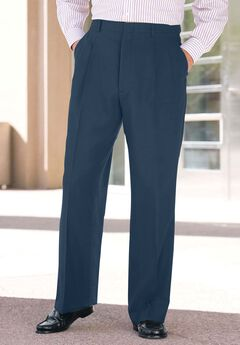 Easy-Care Double-Pleat Inner Stretch Dress Pants by KS Signature,