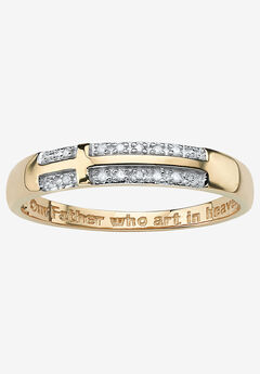 "10K Yellow Gold Diamond Accent ""Lord's Prayer"" Cross Ring, GOLD"