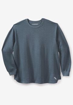 Wicking Fleece Crewneck Sweatshirt by KS Sport™, HEATHER DARK SLATE