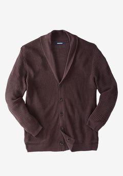 Shaker Knit Shawl-Collar Cardigan Sweater,