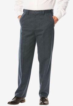 Classic Fit Wrinkle Free Expandable Waist Plain Front Pants,